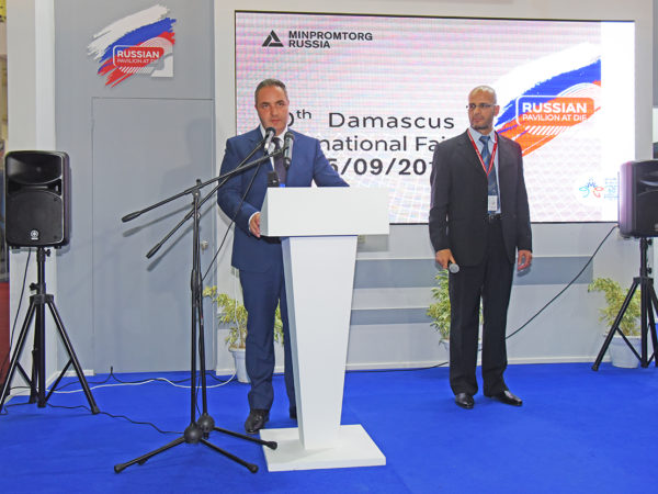Выступление заместителя министра промышленности и торговли РФ Георгия Каламанова на открытии российской экспозиции на 60-ой Международной ярмарке в Дамаске.