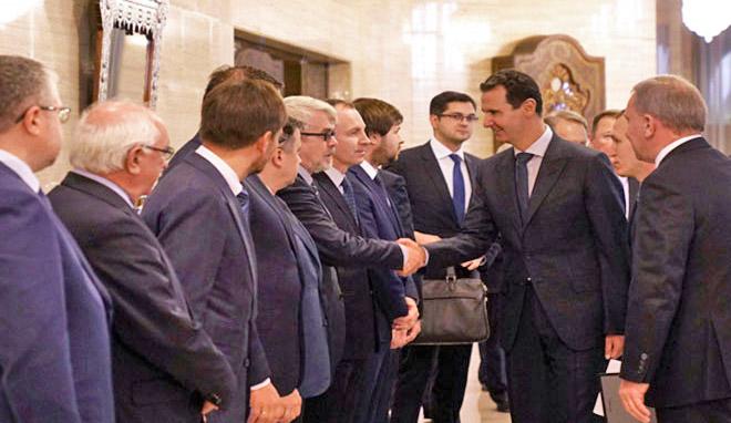 Президент САР Башшар Аль-Асад принял правительственную делегацию России во главе с вице-президентом Юрием Борисовым